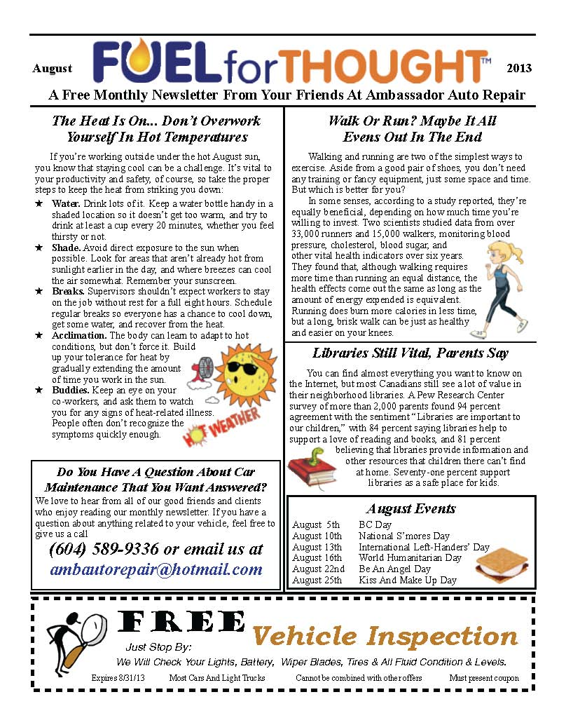 August 2013 Ambassador Auto Repair Newsletter