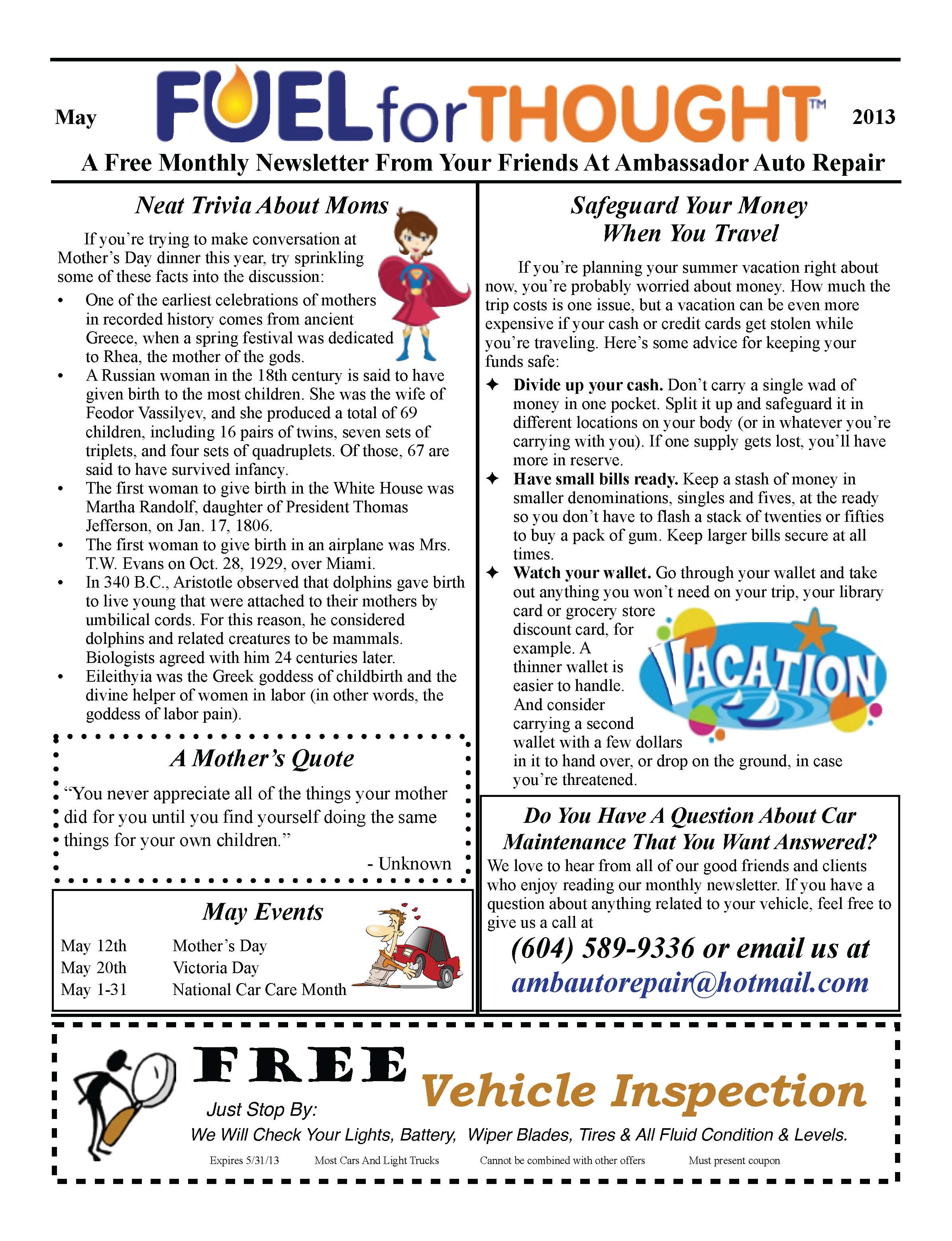 May 2013 Ambassador Auto Repair Newsletter