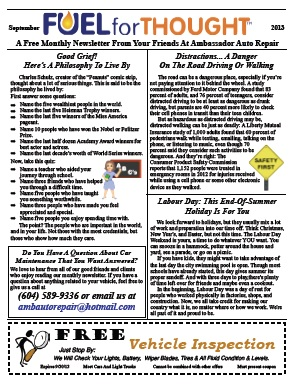 Current Ambassador Auto Repair Newsletter